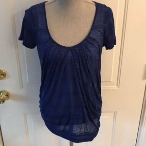 Calvin Klein Womens Blue Striped Stretch Blouse